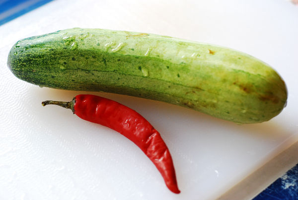 Ingredients For Pickled Cucumber With Chili