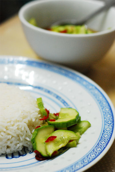 Pickled Cucumber With Chili Serve With Rice