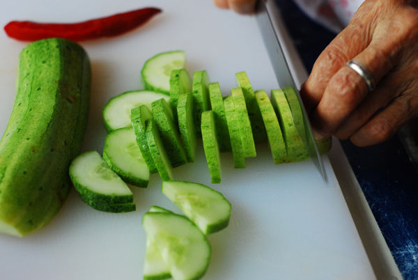 Slice Cucumber To Even Thickness