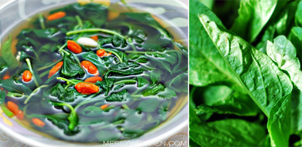 Chinese Spinach Soup With Wolfberries & Garlic