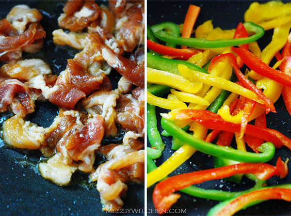 Cook Meat and Bell Peppers