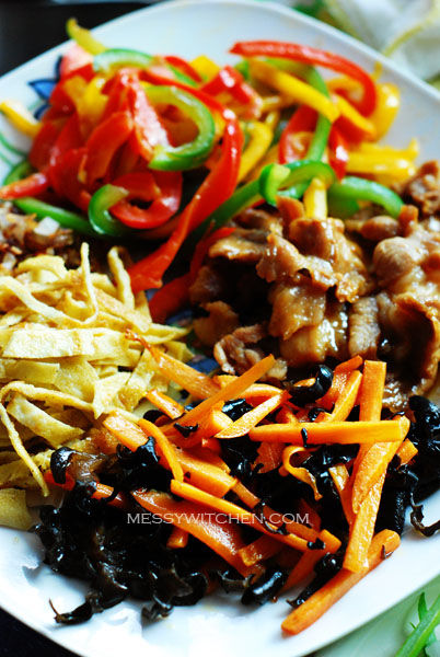 Stir-Fried Meat, Bell Peppers, Black Fungus and Omelette For Japchae