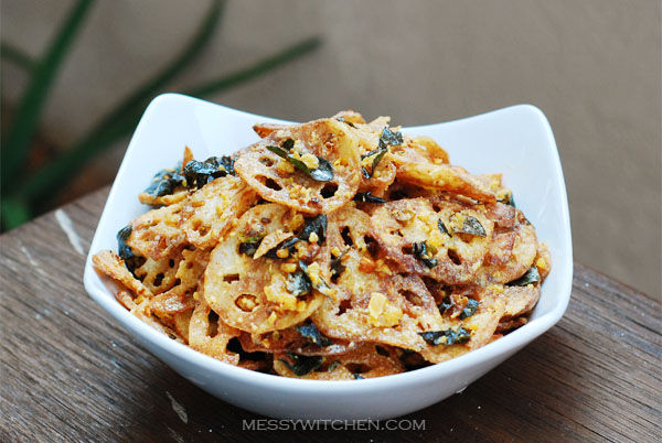 Kam Heong Crispy Lotus Root With Salted Egg Yolk