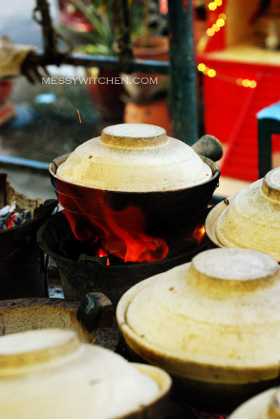 Cooking Claypot Rice With Charcoal Stove