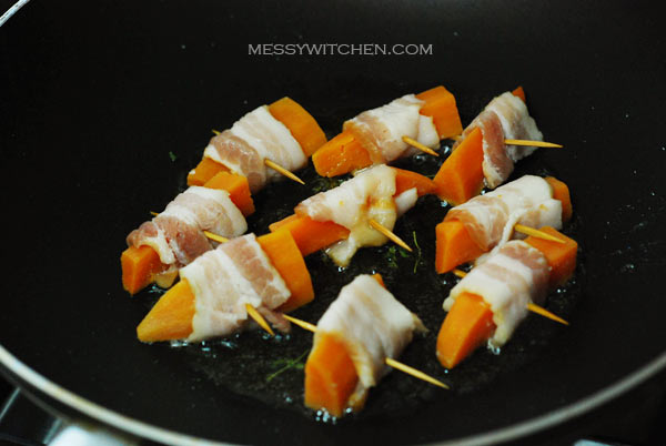 Pan-fry The Sweet Potato Bacon Roll