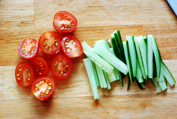 Slice Cucumber & Tomatoes