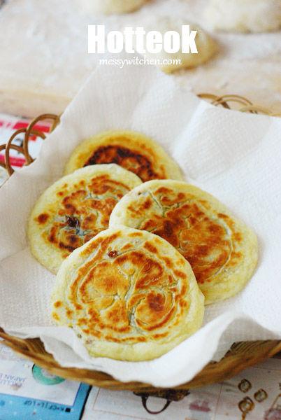 Hotteok (Hoddeok) - Sweet Korean Pancake - Messy Witchen Hoddeok Sweet Korean Pancakes