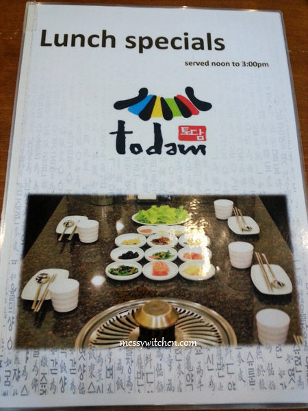 Lunch Menu @ Todam Korean BBQ Restaurant
