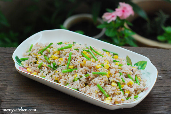 Cincalok Fried Rice With Corn & Asparagus