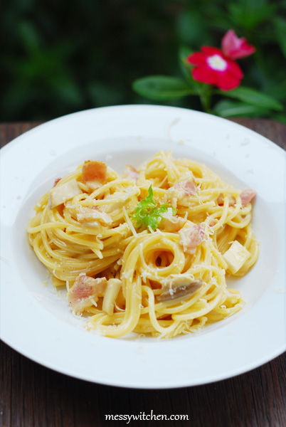 Spaghetti Carbonara With Creme Fraiche