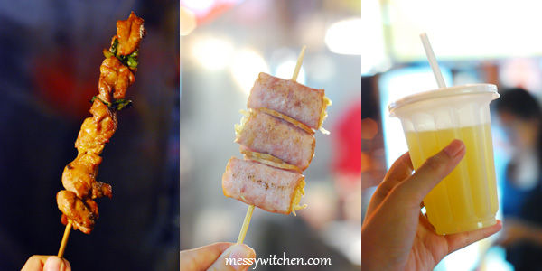Grilled Chicken Thighs, Grilled Bacon With Enoki & Sugarcane @ Ningxia Road Night Market, Taipei