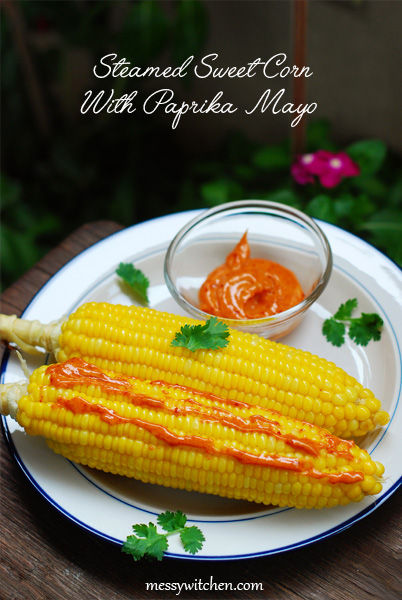 Steamed Sweet Corn With Paprika Mayo