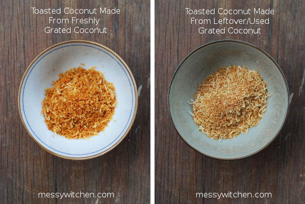 Comparison Between Fresh & Leftover Grated Coconut For Making Toasted Coconut