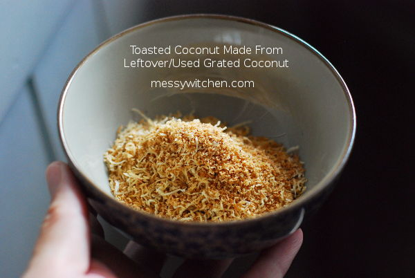 Toasted Coconut Made From Leftover Grated Coconut