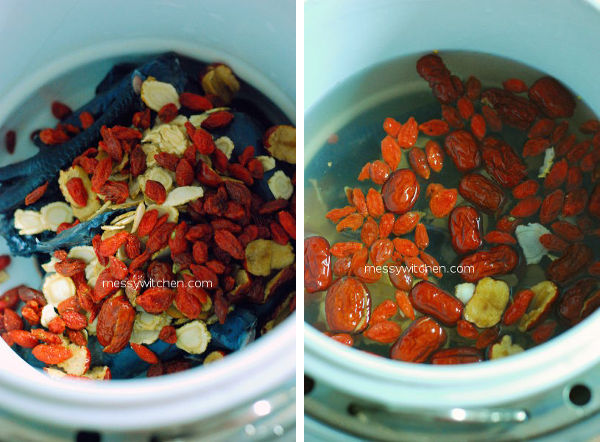 Add Red Dates, Wolfberries & Water