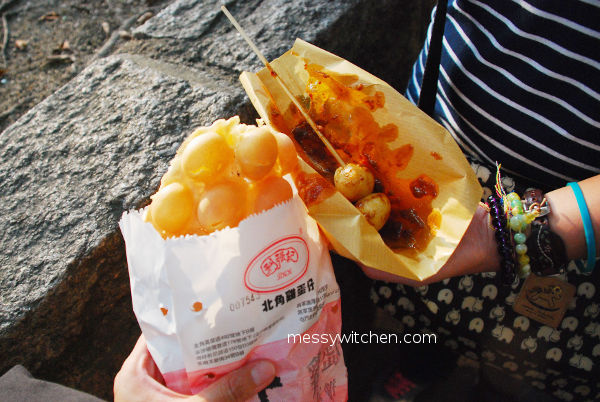 Eggette - Egg Waffle & Fish Ball Stick With Curry @ Lee Keung Kee North Point Egg Waffle, Hong Kong