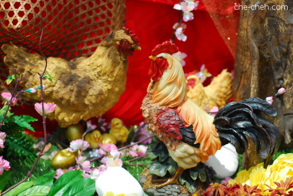 Rooster Figurines for Year of Rooster @ Kuan Yin Temple, Klang