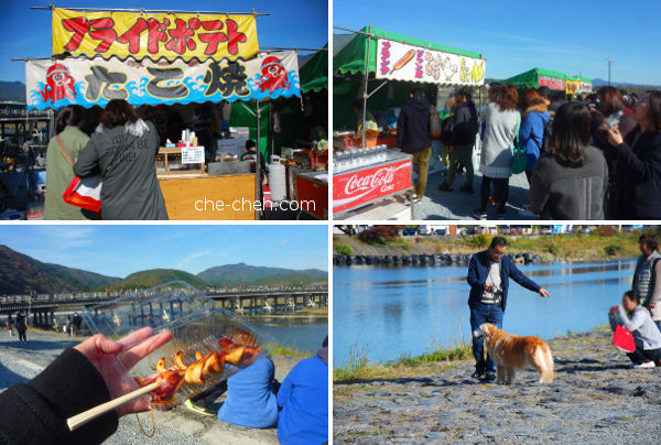 Food & Dog At Katsura River Bank @ Kyoto