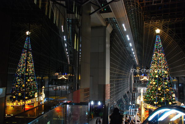 Large Christmas Tree & Its Reflection @ Kyoto Station, Kyoto