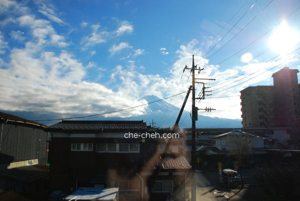 View Of Mount Fuji From Queen Sized Bedroom @ Kagelow Mt Fuji Hostel, Fujikawaguchiko