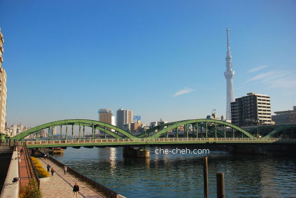 Morning View Of Umayabashi 厩橋 (Bridge) & Tokyo Skytree @ Tokyo