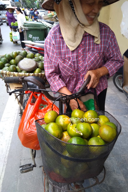 Peddler Selling Citrus Fruit & Avocado @ Hanoi